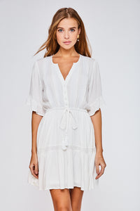 White Button Up Ruffled Dress
