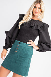 Black Ruffled Smocked Top