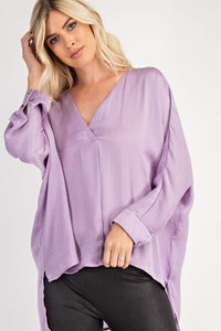 Lavender V Neck Blouse