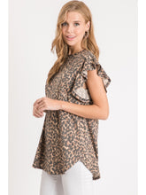 Leopard Ruffle Sleeve Top
