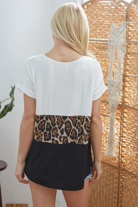Color Block Animal Print Top