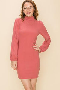 Mauve Mock Neck Dress