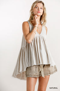 Natural Linen Babydoll top