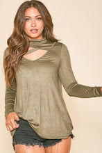 Olive Cut Out Neck Top