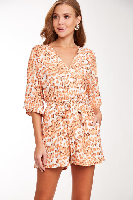 Orange Leopard Print Romper