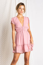 Pink V Neck Mini Dress