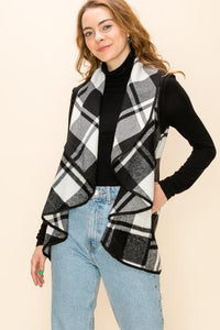 Buffalo Plaid Shawl Vest