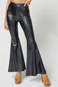 Black Pleather Bell Bottoms