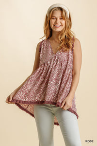 Rose Animal Print V Neck Top