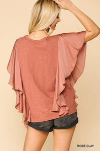 Rose Ruffled Sleeve Top
