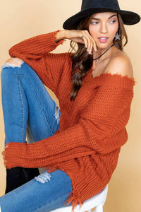 Rust Frayed V Neck Sweater