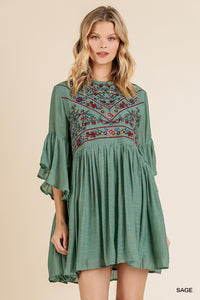 Sage Embroidered Dress