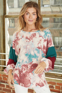 Tie Dye Bubble Sleeve Top