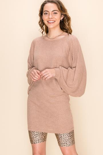 Taupe Ribbed Tunic Dress