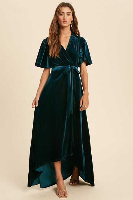 Emerald Teal Velvet Wrap Maxi Dress
