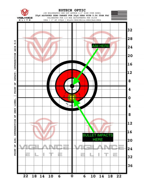 graphic regarding Ar15 25 Yard Zero Target Printable referred to as The 36 Backyard garden Zero Vigilance Elite