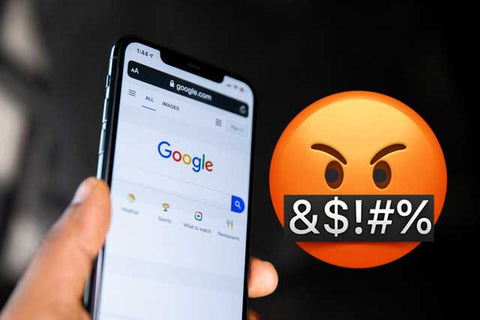Angry emoji cussing out android phone