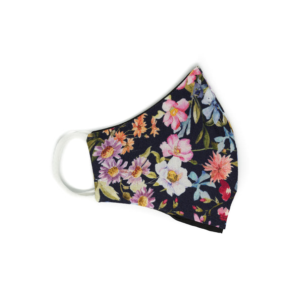 Face Mask - Dark Navy Floral - Mascarilla Higiénica Reutilizable