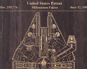 Patent prints Wood wall art Star wars gift for Men gift for Boyfriend gift for Brother gift for Husband gift for him Panel effect Wood art