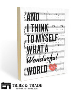 "What a Wonderful World : Wood Wall Art Print - 8x10"" or 11x14"" Louis Armstrong Song Lyric and Sheet Music - Ready to Hang Wooden Wall Decor"