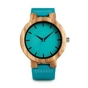 Bamboo Wooden Watches for Men-  Blue Leather Band