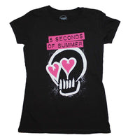 5 Seconds of Summer Pink Heartskull Junior's T-Shirt