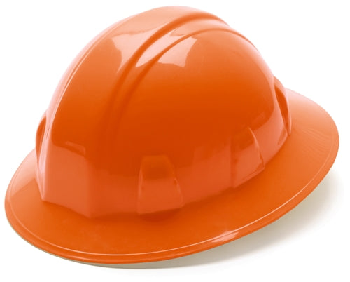 Hard Hat Full Brim Style 4 Point Ratchet Suspension Orange