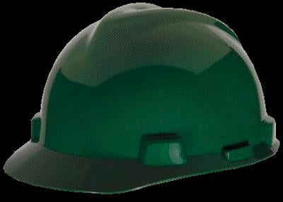 MSA Green V-Gard Class E, G Type I Polyethylene Standard Slotted Hard Cap With Fas-Trac Suspension