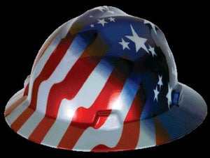 MSA V-Gard Freedom Series Class E Type I Hard Hat With Fas-Trac Suspension And American Stars And Stripes