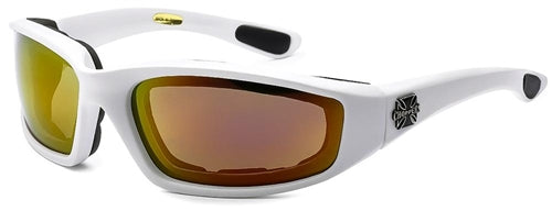 Chopper Foam Padded Sunglasses Red Orange Mirror