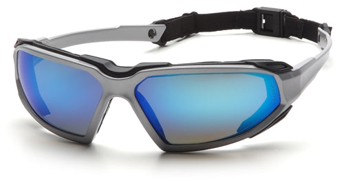 Pyramex Highlander Silver Black Ice Blue Mirror Lens