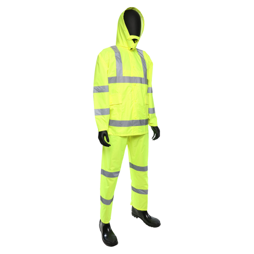 4033 3pc Hi-Vis Rainsuit Lime Green ANSI Class 3