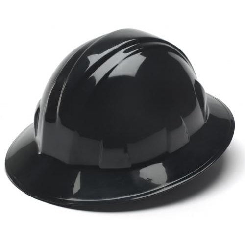 Hard Hat Full Brim Style 4 Point Ratchet Suspension Black