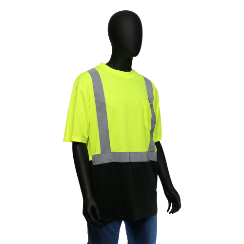 Hi-Viz Color Block Safety Shirt - Short-Sleeved (Class 2) Yellow