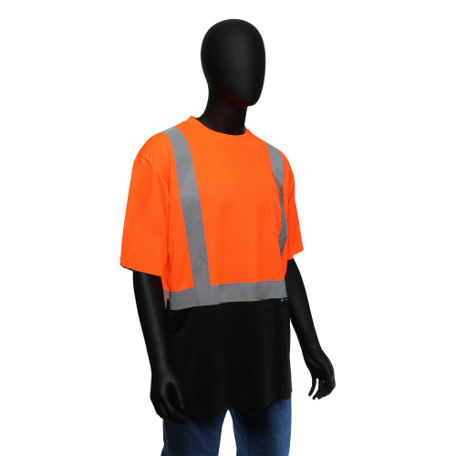 Hi-Viz Color Block Safety Shirt - Short-Sleeved (Class 2) Orange
