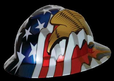 MSA V-Gard Freedom Series Class E Type I Hard Hat With Fas-Trac Suspension And American Flag With 2 Eagles