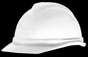 MSA White V-Gard Advance Class C Type I Polyethylene Vented Hard Cap With Fas-Trac 4 Point Suspension And Glaregard Underbrim