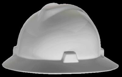 MSA White V-Gard Class E, G Type I Polyethylene Non-Slotted Hard Hat With Staz-On Suspension