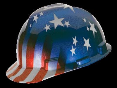 MSA V-Gard Freedom Series Class E Type I Hard Cap With Fas-Trac Suspension And American Stars And Stripes