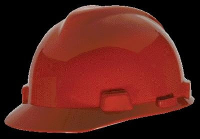 MSA Red V-Gard Class E, G Type I Polyethylene Standard Slotted Hard Cap With Staz-On Suspension