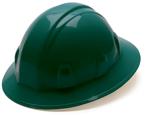 Hard Hat Full Brim Style 4 Point Ratchet Suspension Green