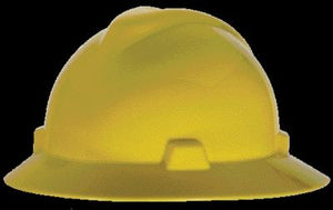 MSA Yellow V-Gard Class E, G Type I Polyethylene Non-Slotted Hard Hat With Staz-On Suspension