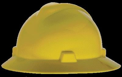 MSA Yellow V-Gard Class E, G Type I Polyethylene Non-Slotted Hard Hat With Fas-Trac Suspension