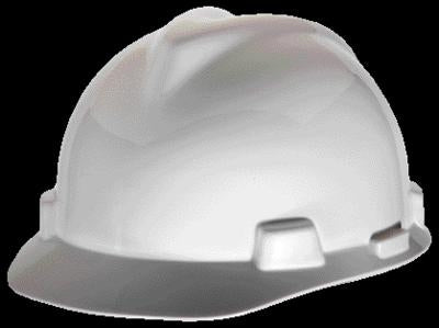 MSA White V-Gard Class E, G Type I Polyethylene Standard Slotted Hard Cap With Staz-On Suspension