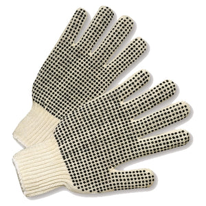PVC Dotted on Both Sides String Knit Gloves Large