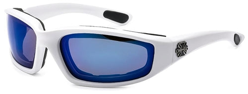 Chopper Foam Padded Sunglasses Blue Mirror