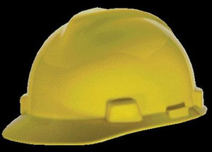 MSA Yellow V-Gard Class E, G Type I Polyethylene Standard Slotted Hard Cap With Staz-On Suspension