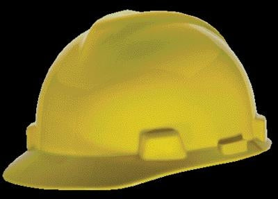 MSA Yellow V-Gard Class E, G Type I Polyethylene Standard Slotted Hard Cap With Fas-Trac Suspension