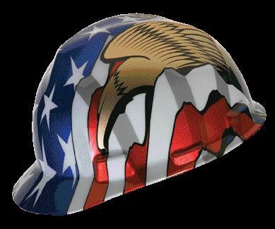 MSA V-Gard Freedom Series Class E Type I Hard Cap With Fas-Trac Suspension And American Flag With 2 Eagles