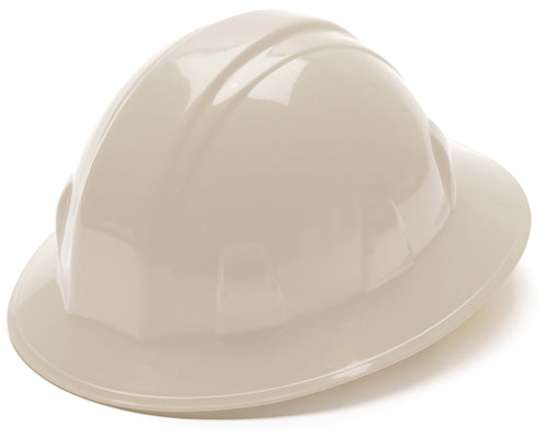 Hard Hat Full Brim Style 4 Point Ratchet Suspension White